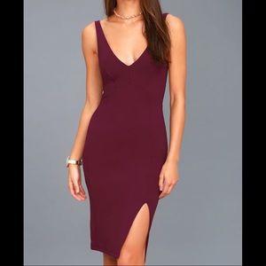 Iconic Moment Plum Purple Bodycon Midi Dress